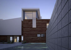 Modern contemporary house exterior at dawn Royalty Free Stock Photography