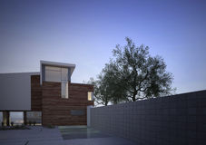 Modern contemporary house exterior at dawn Royalty Free Stock Photos