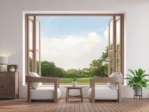 Modern contemporary living room 3d render,There are large open window overlooking to garden view. Modern contemporary living room 3d render,There are wooden royalty free illustration