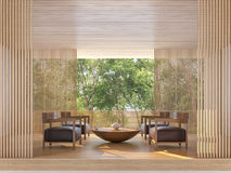 Modern contemporary living room with nature view 3d rendering image royalty free illustration