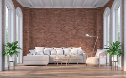 Modern contemporary living room with red brick wall 3d render stock illustration