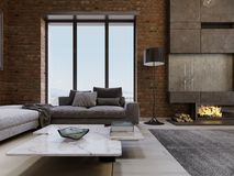 Modern contemporary loft design living room apartment interior vector illustration
