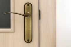 Modern, contemporary satin wooden door metal handle close-up det Stock Photos
