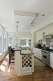 Modern Contemporary White Kitchen. Interior of a Modern contemporary white kitchen with island, granite counter-tops, wine rack, oven and hardwood floors Stock Photos