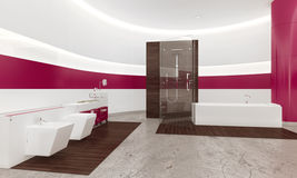Modern contemporary white and pink bathroom interior vector illustration
