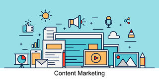 Modern content marketing concept royalty free illustration