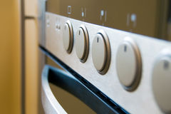 Modern cook controls. Cook controls perspective in modern kitchen stock photography