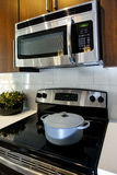 Modern cooking appliances with microwave and stove Stock Photography