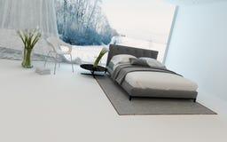 Modern cool bedroom interior overlooking a garden Stock Photo