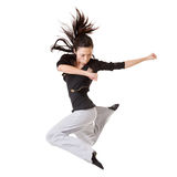 Modern cool woman jumping Royalty Free Stock Photography