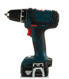 Modern cordless drill. New modern cordless drill on white background Royalty Free Stock Photo