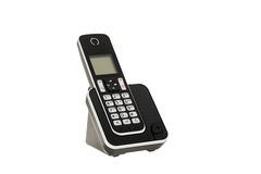 Modern cordless landline dect phone with charging station isolated on white with clipping path Royalty Free Stock Images