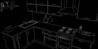 Modern corner kitchen contour sketch white pencil lines on black background. Royalty Free Stock Photos