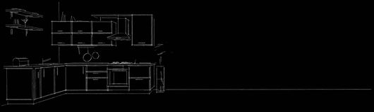 Modern corner kitchen contour sketch white pencil lines on black long background. Stock Image