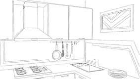 Modern corner kitchen interior sketch drawing. Royalty Free Stock Photography