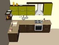 Modern corner kitchen interior. Top view Royalty Free Stock Photo