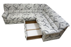 Modern corner sofa with box. Modern design with included box for linen, covered by quality white-grey textile Stock Image