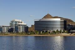 Modern Corporate Buildings On The Lake. Modern corporate office buildings on Tempe Town Lake, Tempe, Arizona, USA Stock Image
