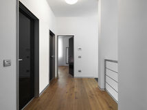 Modern corridor with several doors. And wooden floor royalty free stock images