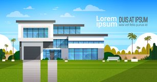 Modern Cottage House Exterior, Villa Building Banner with Copy Space. Flat Vector Illustration royalty free illustration