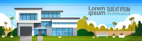 Modern Cottage House Exterior, Villa Building Horizontal Banner with Copy Space. Flat Vector Illustration royalty free illustration