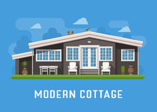 Modern Cottage on Rural Background Royalty Free Stock Photos