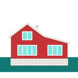 Modern cottage vector. Modern cottage with brick foundation. Vector illustration Royalty Free Stock Photo