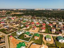 Modern cottage village near Moscow, Russia. aerial survey. View of the cottage village near Moscow from the top, Russia Royalty Free Stock Images