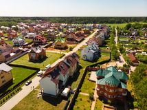 Modern cottage village near Moscow, Russia. aerial survey. View of the cottage village near Moscow from the top, Russia Royalty Free Stock Image