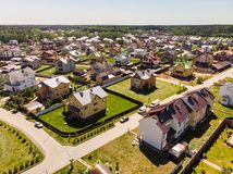 Modern cottage village near Moscow, Russia. View of the cottage village near Moscow from the top, Russia Stock Photo