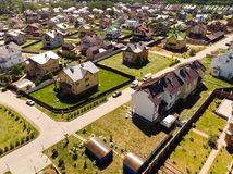 Modern cottage village near Moscow, Russia. View of the cottage village near Moscow from the top, Russia Stock Photography