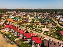 Modern cottage village near Moscow, Russia. View of the cottage village near Moscow from the top, Russia Stock Images