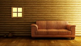 Modern couch 3D rendering. Modern couch beside log wall royalty free illustration