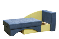 Modern couch. Arranged bed over white background. Colorful  couch Stock Photos