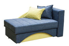 Modern couch. Arranged bed over white background. Colorful  couch Royalty Free Stock Photos