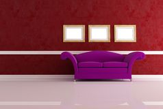 Modern couch in a classic living room Stock Photography