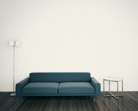 Modern couch and lamp in room. Modern comfortable interior, 3d image Royalty Free Stock Image