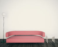 Modern couch and lamp in room Royalty Free Stock Photos