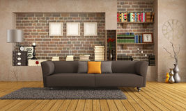 Modern couch in a vintage living room. Brown sofa in a vintage living room - rendering Royalty Free Stock Photography