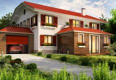 Modern country house with garage and car. Modern large country house with garage and car royalty free stock photos