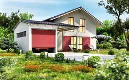 Modern country house with garage and car. Modern white country house with garage and car royalty free stock photography