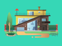 Modern country house. Home cottage building, residential architecture, real property design, vector illustration Stock Image