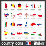 Modern country map icons with flags of participating teams to the final soccer tournament of Euro 2016 color. Colored country map icons of participating teams to Royalty Free Stock Photography