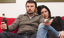 Modern Couple Watching Television Stock Photo
