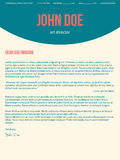 Modern cover letter cv resume in turquoise red colors Royalty Free Stock Photography