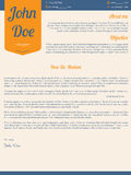 Modern cover letter resume cv with orange ribbon. Modern cover letter resume cv template with orange ribbon Royalty Free Stock Photo