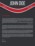 Modern cover letter resume cv with red wave Royalty Free Stock Images