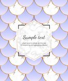 Modern cover with mermaid scales. Blue mermaid tail with white marble texture, golden lines. Trendy backgrounds for birthday, part stock illustration