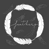 Modern cover tamplate with hand drawn feathers. Doodle style decorative elements. Vector Feather Logo illustration. Trendy header Stock Image