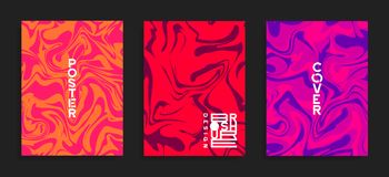 Modern cover templates. Fluid colors. Abstract marble effect vector background. royalty free illustration